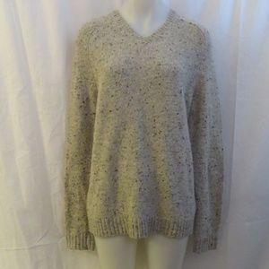 VINCE WOOL CREAM NEUTRAL V-NECK SWEATER LARGE